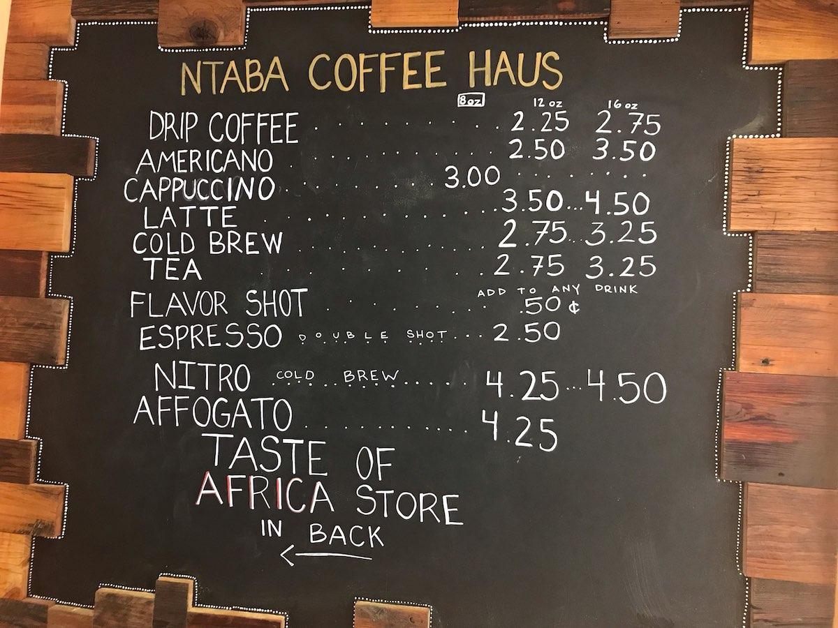 ntaba coffee menu