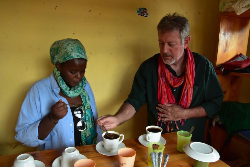 Robin tasting coffee in africa